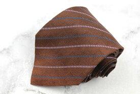 フランコバッシ FRANCO BASSI 刺繍 シルク イタリア製 ストライプ柄 ブラウン シルク ブランド ネクタイ 送料無料 【中古】【良品】