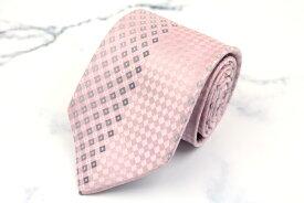 ダナキャラン DONNA KARAN DKNY 日本製 格子柄 ピンク シルク ブランド ネクタイ 送料無料 【中古】【美品】