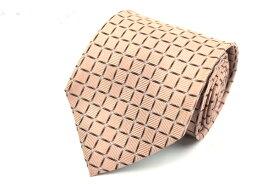 ダナキャラン DONNA KARAN DKNY 日本製 シルク チェック柄 ピンク シルク ブランド ネクタイ 送料無料 【中古】【美品】