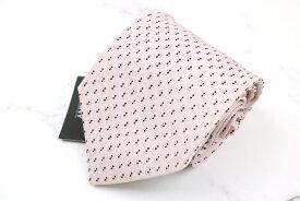 ダナキャラン DONNA KARAN DKNY 日本製 シルク 小紋柄 ピンク シルク ブランド ネクタイ 送料無料 【中古】【新品未使用】