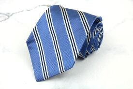 346 ブルックスブラザーズ Brooks Brothers USA製 シルク ストライプ柄 ブルー シルク ブランド ネクタイ 送料無料 【中古】【新品未使用】