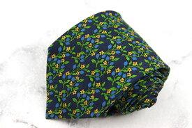 バティストーニ BATTISTONI ロゴ シリアル BAT1005 シルク イタリア製 花柄 グリーン シルク ブランド ネクタイ 送料無料 【中古】【美品】