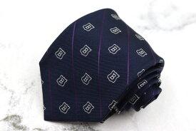ブリューワー BREUER ロゴ 伊製 シルク ストライプ柄 ネイビー シルク ブランド ネクタイ 送料無料 【中古】【美品】