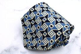 ポロ ラルフ ローレン Polo Ralph Lauren USA製 シルク 幾何柄 ブルー シルク ブランド ネクタイ 送料無料 【中古】