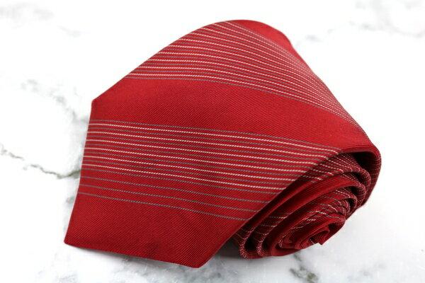 ジョルジオ アルマーニ GIORGIO ARMANI イタリア製 シルク ストライプ柄 レッド シルク ブランド ネクタイ 送料無料 【中古】