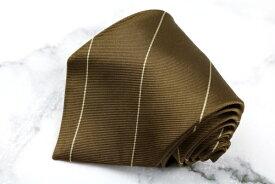 チャップスラルフローレン CHAPS Ralph Lauren 日本製 シルク ストライプ柄 ブラウン シルク ブランド ネクタイ 送料無料 【中古】【良品】