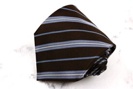 ルイジボレッリ LUIGI BORRELLI イタリア製 シルク ストライプ柄 ブラウン シルク ブランド ネクタイ 送料無料 【中古】【良品】