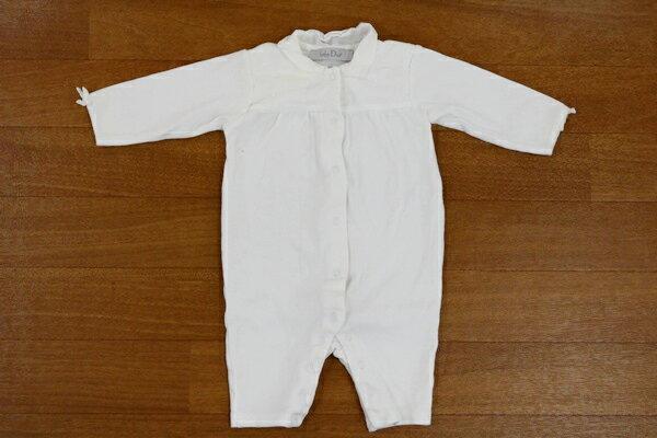 [美品] ベビーディオール baby Dior 3サイズ 刺繍 長袖 ロンパース 襟付き レース ベビー つなぎ 子供服 ホワイト ブランド古着 【中古】