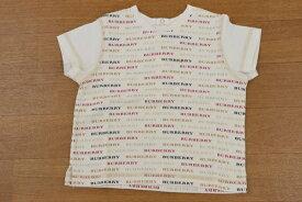 バーバリーロンドン BURBERRY LONDON 80サイズ 総柄 半袖 Tシャツ ロゴ 日本製 トップス 子供服 ベビー 男女兼用 ホワイト ブランド古着 【中古】