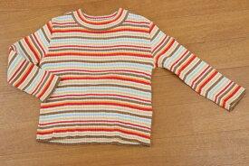 f88efb1df5998  美品  ミキハウス MIKIHOUSE 90サイズ ボーダー リブ カットソー 長袖 トップス 女の子 子供服