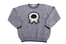 [良品] ファミリア familiar 140サイズ 刺繍 セーター ニット エンブレム レトロ 男の子 トップス ウール混 グレー ブランド古着 【中古】