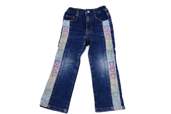 [良品] ミニケー MINI-K 100サイズ 刺繍 デニム パンツ ジーパン Gパン ボトムス 女の子 子供服 ブルー ブランド古着 【中古】