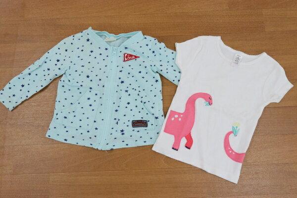 カーターズ ピクニック 3T 100サイズ相当 半袖 Tシャツ カーディガン 2点セット 女の子 子供服 キッズ ブランド古着 【中古】