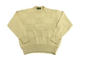 [良品] ジャックニクラウス Jack Nicklaus Lサイズ セーター ニット 編み込み模様 ウール100% ゴルフウェア スポーツ アウトドア メンズ 服 ベージュ ブランド古着 【中古】