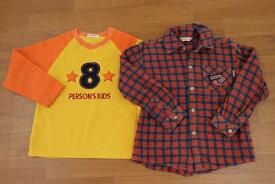 パーソンズキッズ PERSONS KIDS 120サイズ チェック ネルシャツ カジュアル トレーナー フリース 2点セット 男の子 子供 服 キッズ 冬 イエロー ブランド古着 【中古】