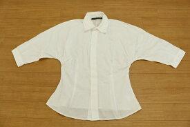 [良品] ラルフローレン Ralph Lauren 7サイズ 無地 シャツ 七分袖 ラグランスリーブ 隠しボタン ドレープ レディース 服 ホワイト ブランド古着 【中古】