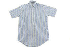 [美品] エルエルビーン L.L.Bean XSサイズ ストライプ 半袖 カジュアルシャツ ボタンダウン アウトドア メンズ トップス 紳士 服 ブルー ブランド古着 【中古】