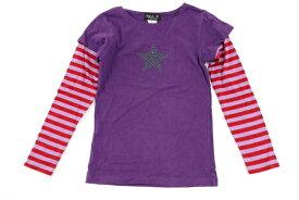 アニエスベー Agnes b. 12ansサイズ ボーダー 長袖 Tシャツ カットソー 重ね着風 星 ストーン 男の子 子供服 キッズ パープル ブランド古着 【中古】