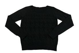[美品] アズール AZUL Mサイズ相当 刺繍 ニット クルーネック セーター 薄手 レディース 細みえ 美シルエット ブラック ブランド古着 【中古】