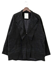 [美品] ケイコキシ KEIKO KISHI 不明サイズ 無地 テーラードジャケット レディース 変型襟 3ボタン ブラック ブランド古着 【中古】