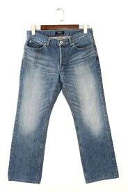 [美品] バーバリーブラックレーベル BURBERRY BLACK LABEL 76size パンツ メンズ デニム ジーンズ ジーパン ボタンスナップ ブルー ブランド古着 【中古】