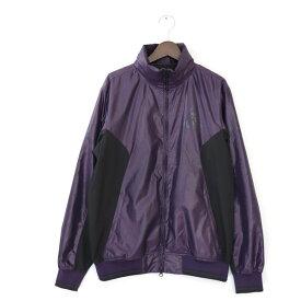 [美品] パーリーゲイツ PEARLY GATES 4サイズ ジャケット メンズ GP89 アウター ハイネック フード付 リブ カラー切替 紫 ブランド古着 【中古】