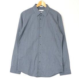[美品] カルバンクライン Calvin Klein Mサイズ ストライプ シャツ メンズ スリムフィット 長袖 カジュアル キレイめ グレー ブランド古着 【中古】