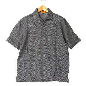 [良品] エムシーエム MCM LLサイズ チェック ポロシャツ メンズ シンプル 大きいサイズ ゴルフウェア ブラック ブランド古着 【中古】