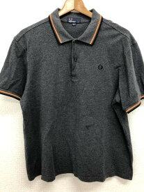 フレッドペリー FRED PERRY XLサイズ ワンポイント ポロシャツ メンズ 半袖 ロゴ グレー ブランド古着 【中古】