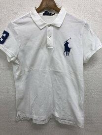 [良品] ラルフローレン Ralph Lauren 7fサイズ ビッグポニー ポロシャツ レディース 半袖 ビッグポニー 刺繍 ホワイト ブランド古着 【中古】