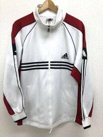 アディダス adidas Oサイズ ワンポイント ジャージ メンズ ロゴ 3ライン スポーツ ハイネック ホワイト ブランド古着 【中古】