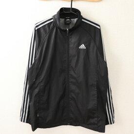 アディダス adidas Oサイズ ワンポイント ジャケット メンズ 3ライン ロゴ ジップアップ ハイネック ブラック ブランド古着 【中古】
