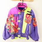 デサント DESCENTE Oサイズ 総柄 スキーウェア メンズ ウインタースポーツ ジャケット ジップアップ 紫 ブランド古着 【中古】