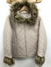 ユニクロ UNIQLO XLサイズ キルティングジャケット ジャンパー 中綿 ファー アウター 大きいサイズ レディース 服 ベージュ ブランド古着 【中古】