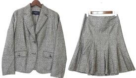 [良品] バーバリーロンドン BURBERRY LONDON 44/40サイズ スーツ セットアップ ジャケット スカート 2点セット 日本製 カシミヤ混 レディース服 グレー ブランド古着 【中古】