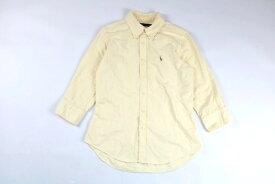 [良品] ラルフローレン Ralph Lauren 7サイズ ストライプ カジュアルシャツ ボタンダウン 7分袖 ポニー 刺繍 レディース 服 トップス イエロー ブランド古着 【中古】