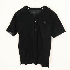 [良品] バーバリーブラックレーベル BURBERRY BLACK LABEL 2サイズ ワンポイント Tシャツ メンズ ロゴ 刺繍 半袖 チェック ブラック ブランド古着 【中古】