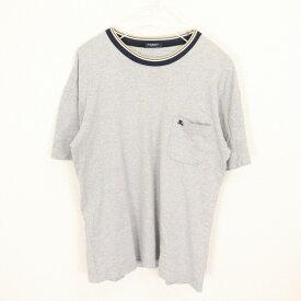 [良品] バーバリーロンドン BURBERRY LONDON Lサイズ ワンポイント Tシャツ メンズ 半袖 ロゴ 刺繍 クルーネック グレー ブランド古着 【中古】
