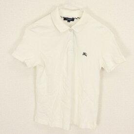 バーバリーロンドン BURBERRY LONDON 1サイズ ワンポイント ポロシャツ メンズ 半袖 ロゴ 刺繍 ノバチェック ゴルフ ホワイト ブランド古着 【中古】