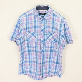 [良品] バーバリーブラックレーベル BURBERRY BLACK LABEL 3サイズ チェック シャツ メンズ 半袖 ロゴ ワンポイント 胸ポケット ブルー ブランド古着 【中古】
