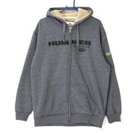 [美品] ハマー HUMMER 3Lサイズ ロゴ パーカー ジップアップ 裏ボア ビッグサイズ 大きいサイズ アウター メンズ服 グレー ブランド古着 【中古】