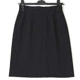 [良品] バレンシアガ BALENCIAGA 38サイズ スカート レディース ストライプ柄 仕付け糸あり ブラック ブランド古着 【中古】