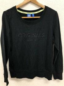 [良品] アディダス adidas OTサイズ Tシャツ トレーナー ロンT レディース 水玉ドット クルーネック オリジナル ブラック ブランド古着 【中古】