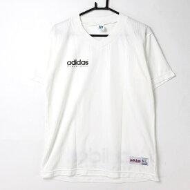 [良品] アディダス adidas M-Lサイズ ロゴ 半袖 Tシャツ トップス スポカジ Vネック メンズ服 バスケットボール ホワイト ブランド古着 【中古】