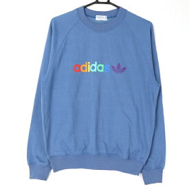 [良品] アディダス adidas 98 6サイズ ロゴ トレーナー スウェット トップス スポカジ レインボー メンズ服 レトロ ブルー ブランド古着 【中古】