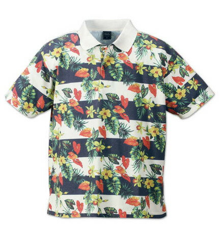 期間限定 ポロシャツ メンズ トップス 大きいサイズ ボタニカル ボーダー 半袖 メンズファッション ※fu