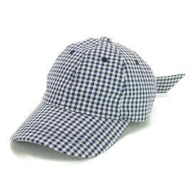 キャップ メンズ 小物 ギンガムチェック バックリボン ローキャップ ヤング帽子 帽子 男性用