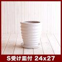 【φ23cm受け皿付き&送料無料】ルッカ HR1 白ツヤ Sサイズ ≪植木鉢/おしゃれ/陶器鉢/セール対象3≫