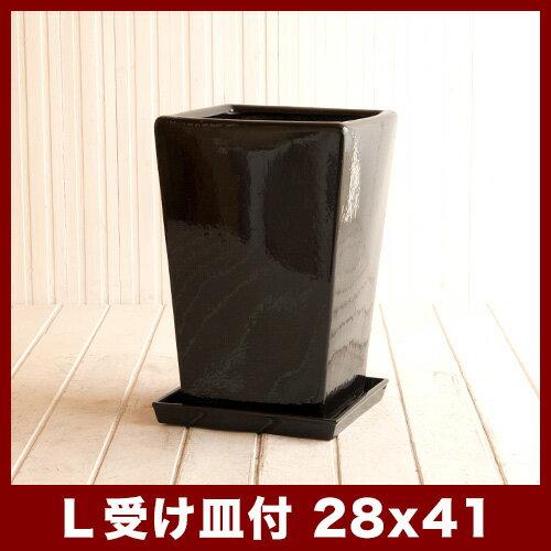 【□27cm受け皿付き&送料無料】ルッカ PQ1 黒ツヤ Lサイズ ≪植木鉢/おしゃれ/陶器鉢/セール対象3≫