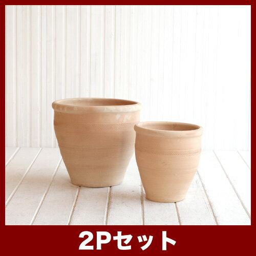 テラムルタ クエッタ 2点セット ≪おしゃれな植木鉢/テラコッタ/素焼き鉢/セール対象1≫